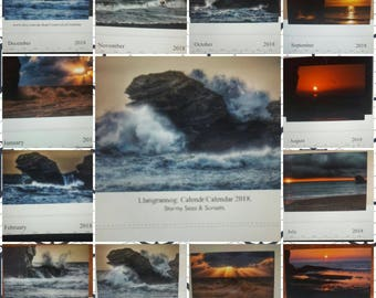 Stormy Seas and sunsets calendar of Llangrannog 2018
