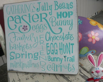 EASTER~Hand Painted Wood Sign~Bunny~Home Decor~Spring Theme~