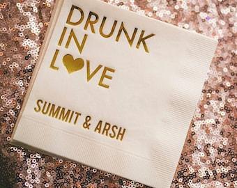 100 Personalized Napkins Personalized Napkins Engagement Wedding Napkins Custom Monogram Drunk In Love Cocktail Beverage Luncheon Dinner
