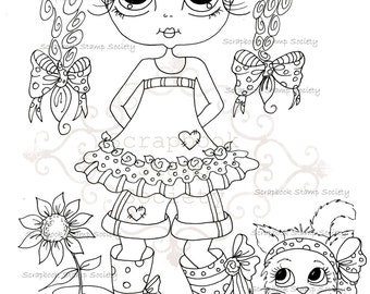 INSTANT DOWNLOAD Digital Digi Stamps Big Eye Big Head Dolls Digi   Besties IMG749 By Sherri Baldy