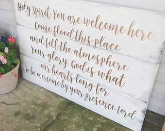 Holy Spirit You Are Welcome Here Home Decor, Rustic Wood Sign, Holy Spirit You Are Welcome Here, Farmhouse Decor