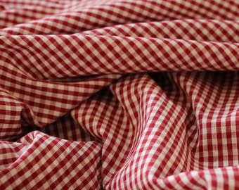 Red Gingham Check Fabric - 100% Organic Cotton