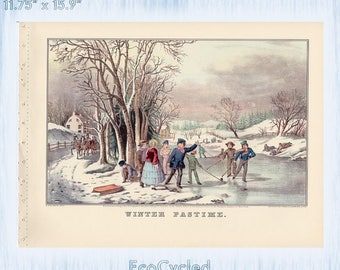 Americana Currier & Ives Vintage Lithograph Print American Winter Pastime Paper Ephemera Book Page ready to frame print ice skating art z47