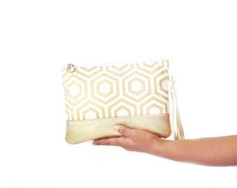 Wristlet clutch bag, wedding clutch, metallic gold bag, gold bridal clutch, gold leather wedding clutch, gold geometric wristlet clutch bag