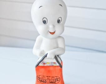 Vintage 1986 Casper the Friendly Ghost Figurine-Holding a Trick Treat Bag Filled With Colorful Candy-Candle holder or can Hold Lights-1986