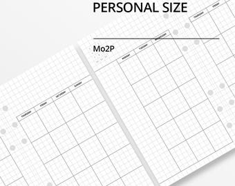 Personal Size Month on Two Page Monthly Planner Insert/Undated /Printable