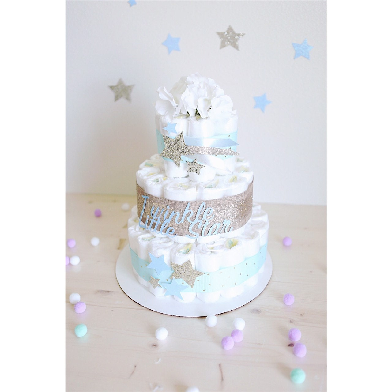 Twinkle Little Star Diaper Cake for baby Boy / Gold Silver Blue Baby ...