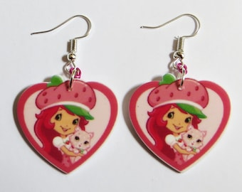 Strawberry Shortcake heart shape earrings