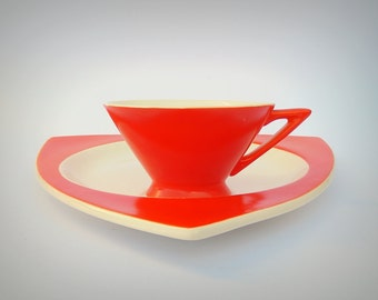 Atomic Art Deco Salem Streamline Cup w/ Tricorne Saucer in Mandarin Orange - Priced by Condition