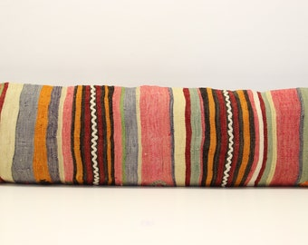King size kilim pillow cover 14x48 inch (35x120 cm)Bedding lumbar Kilim pillow cover extra long pillow cover Home Desing Oblong pillow T-162