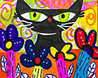 Cat Art, Black Cat Print, Funny Cat Art,  Whimsical Art , Children's Room Decor, Peek-A-Boo Cat by Paula DiLeo_110213