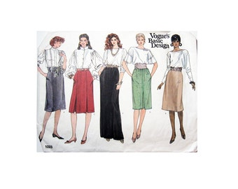 Vogue 1023 Sewing Pattern, Size: 12-14-16, Vogue's Basic Design, 5 Basic Skirt Styles, Cut and Complete