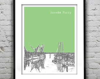 Sneads Ferry North Carolina Poster Art Print Skyline NC Version 1