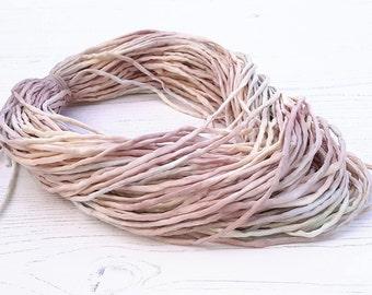 Hand dyed Silk Cord  - 2-3mm in beige grey silk string 45 meters