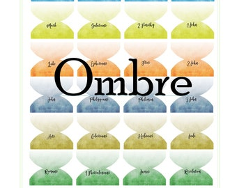 Ombre Bible Index Tabs for Protestant and Catholic Bible or bullet journals