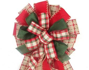 Burlap Bow, Christmas Tree Topper, Christmas Bow, Christmas Tree Bow, Christmas Tree Topper Bow, Christmas Tree Topper