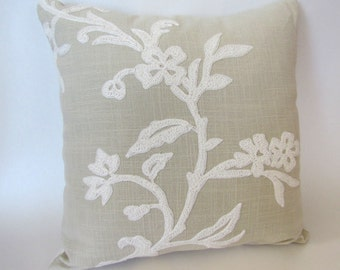 Light Green Floral Hand Embroidered Decorative Pillow