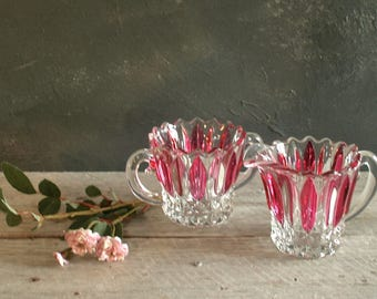 Antique Striped Red Flash Glass Creamer and Sugar Bowl, Mid Century, 1950s, Retro