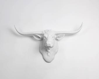 Cow Head Wall Mount Decor, The Remington - White Resin Longhorn Steer Sculpture, Western Cow Decor Western