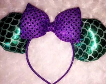 Little Mermaid Inspired Disney Ears Minnie Vacation Land World Headband Handmade