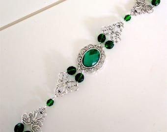 Renaissance Jewelry, Bracelet, Celtic Jewelry, Wedding Jewelry, Scottish Bracelet, Medieval Jewelry, Tudor, Green & Silver, Ready 2 Ship