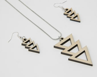 Triple Triangles Earring and Necklace Set