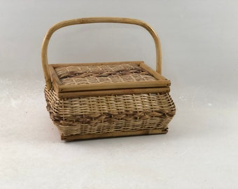 Vintage Wicker Sewing Basket With Supplies