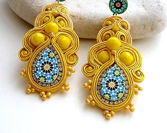 canary yellow dangle drop long stud statement earrings with Spanish azulejos tile replica for women anniversary gift ideas - ALHAMBRA