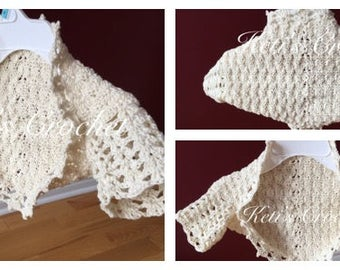 Ready to ship Bolero,Cotton Bolero,Beige Bolero,Crochet Bolero,Crochet Shrug,Little Girls Shrug,Toddler Shrug,Baby Shrug