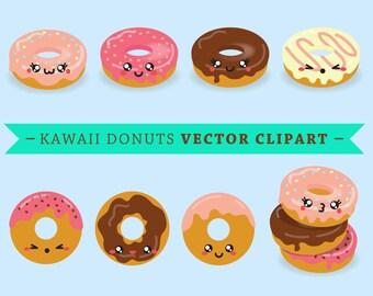 Premium Vector Clipart - Kawaii Donuts - Cute Donut Clip art Set - High Quality Vectors - Instant Download - Kawaii Clipart