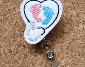 Stethoscope Maternity  Badge Reel - ID Badge Reel Pediatrician - Felt Badge Reel - Retractable Name Holder - Nurse - Baby Feet -  231