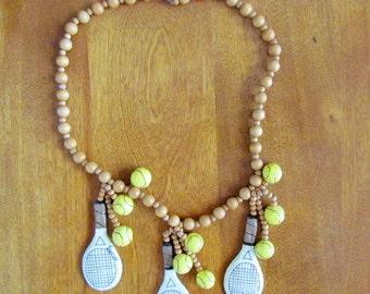 "Handmade/Vintage Papier Mache ""Wimbledon"" Necklace"