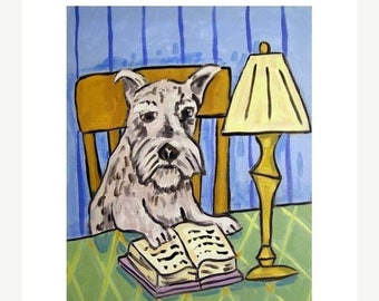 25% off Schnauzer Reading at the Library Dog Art Print
