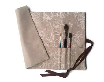 Artist Brush Roll Natural Cotton Paint Brush Roll, Natural and White Floral Design