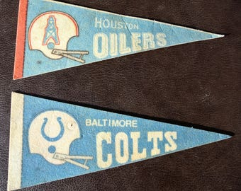 Vintage Pennants, NFL Pennants, Set of 2, 1970s Football Pennants, Houston Oilers, Baltimore Colts, Felt Pennants, Souvenir Pennants