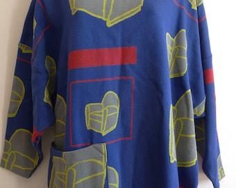 E de Senneville 80s printed armchair mini tunic dress