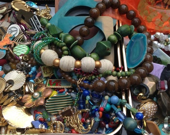 MASSIVE Craft Supply Destash - Jewelry Supply Lot - Eclectic Repurposing Stash - Mixed Media Altered Art Assemblage Collection