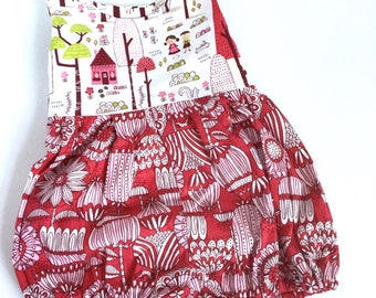 Riley Blake fabric Hansel and Gretal print with mod print bottom in red and pink. Baby girl romper -coming home outfit - ready to ship