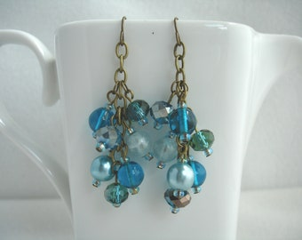 Fish hook earrings with cascading bead dangles, waterfall earrings, brass dangle earrings , shades of turquoise