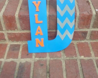 Large Letter with Name, and Chevron design!