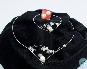 Silver Jewelry Set with  freshwater pearls - Handmade set - Artistic Jewelry