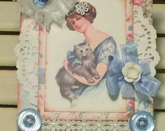 Shabby Handmade Card, Vintage Style, Birthday Card, Embellished Card,Greeting Card