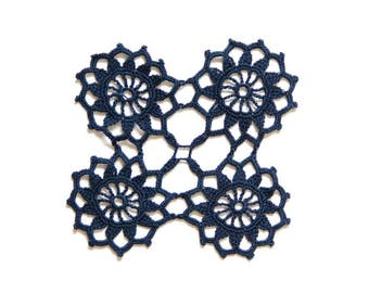 Denim dark blue hand dyed Crochet Vintage Doily Lace doily
