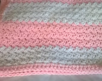 Handmade baby blanket-pink and white