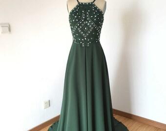 Backless Spaghetti Strap Dark Green Chiffon Long Prom Dress 2017