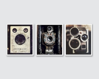 Industrial Decor, Set of 3 Vintage Camera Prints or Canvas Set, Office Decor, Printer Gifts, Wall Art for Men, Industrial Decor.
