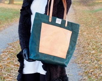 Waxed Canvas Tote Bag with Leather Handles/Leather Pocket- Large Tote Perfect for Everyday, Travel, School,  or the Market