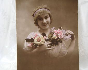 Gift Vintage Carte Postal Photo Postcard 1900-20's GLAMOUR Ladies Model Flowers FRENCH