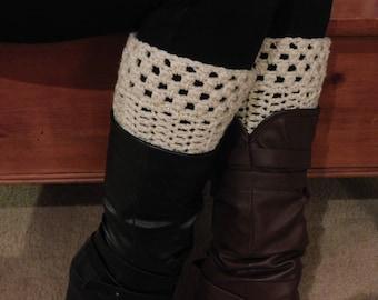 """Handmade, Crochet, Cream with Gold Boot Cuffs / Leg Warmers, Medium fits 13-16"""" calf"""