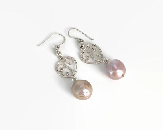 Baroque pearl and sterling silver heart earrings, large dusky pink pearls, filigree hearts, dangle hook earrings, 9 grams